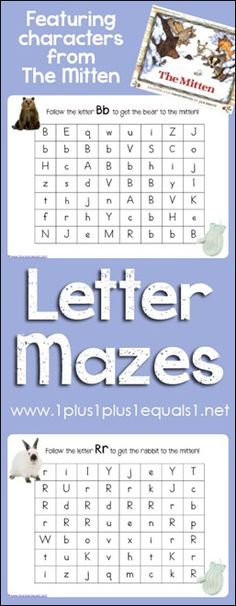 The Mitten {by Jan Brett} Letter Mazes from @{1plus1plus1} Carisa