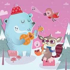 christma card, christmas cards, song, animals, digital art, harrison illustr, anim illustr, illustr inspir, freya harrison