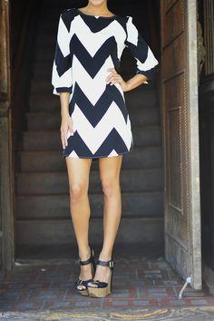 Navy blue and white chevron stripe shift dress