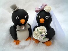 My favorite cake topper - Penguin wedding cake topper -  $86.00, via Etsy.