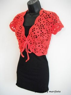 how to crochet flowers bolero shrug jacket with motifs free pattern tutorial « The Yarn Box