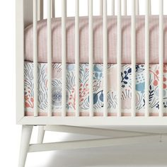 Fan FAVE | Meadow Crib Skirt and Matchstick Sheet.  Sweet and sophisticated.