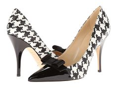 Kate Spade New York Lilia Black/White Houndstooth Raffia/Black Patent/Satin - Zappos Couture