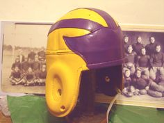 LSU leather football helmet colors of the 1940s era