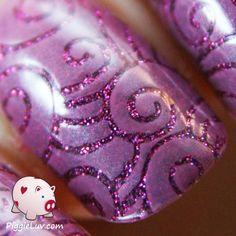 Stamping over glitter base via #piggieluv  #nails #nailart #summercolors #purplemani - bellashoot.com