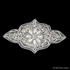 BEADED R.S. PEARL APPLIQUE - CRYSTAL/SILVER