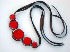 Red statement necklace ceramic jewelry