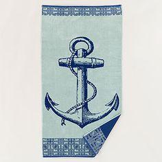 Blue Anchor Beach Towel