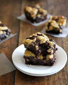 COOKIE-TOPPED BROWNIES! Bake the brownies for about 10-15 minutes before putting the cookie dough on top, otherwise the brownies won't bake all the way through. Super delicious though!