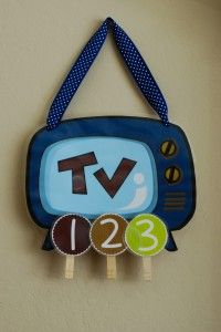 TV Time Chart-  Good way to monitor and limit the time used. tv time chart, screen time chart, kid