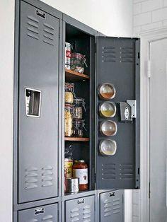 Use a metal locker as a pantry!