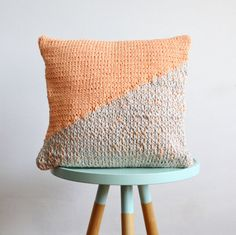 hand knitted cushion