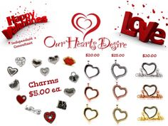 Great gift for Valentine's Day!  Customize an Our Hearts Desire locket and charms for someone special.    purchase this at www.ourheartsdesire.com/billiejoclaypool
