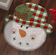 Country Snowman Holiday Accent Rug