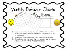 These adorable charts work well with behavior issues in the classroom.  I like to staple them inside of each students' folder where it remains priv...