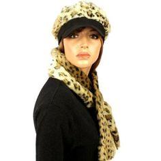 Ladies Winter Soft Animal Print Faux fur Newsboy Ski Cap Hat Scarf Set Cheetah SK Hat shop. $24.95