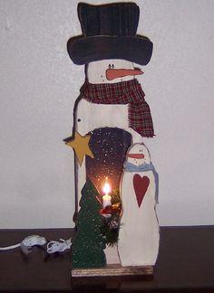 Primitive Wood Snowman Light Box, Snowmen & Frosty Friends Crafts
