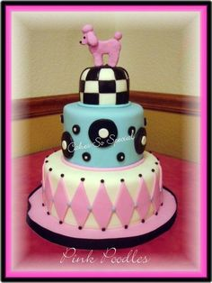 """50's style Pink Poodle Cake - 3, 6, 9"""" cakes.  The 3"""" and 9"""" are hummingbird cake and the 6 is French Vanilla.  For a friend turning 50...a 50's inspired cake with black, pink, turquoise and white.  The top tier has a black & white """"floor"""" and a pink poodle.  Middle tier is in turquoise with """"records"""" floating there.  Bottom tier is diamonds.    It was the hit of the party.  TFL"""