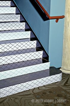 Step up your stairway style with a hip, lattice-style stencil! Tip: For functional décor like  this loft staircase, we recommend sealing your work with clear, water-based polyurethane.