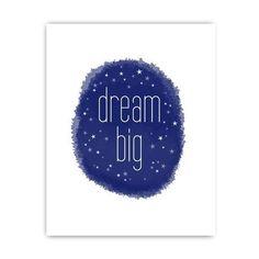 dream big nursery print navy blue
