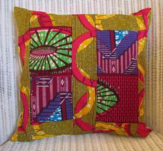 Stunning african wax print patchwork cushion cover