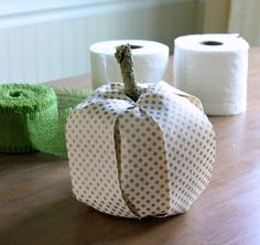 Toilet Paper and Ribbon Pumpkin via Daisy Mae Belle // 8 Incredible Ideas for Repurposed Pumpkin Decor >> http://blog.diynetwork.com/maderemade/2014/09/17/8-incredible-ideas-for-repurposed-pumpkin-decor/?soc=pinterest