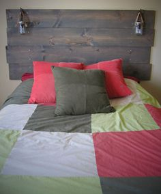 Stained Wood Headboard with Built-In Mason Jar Lights. $89.00, via Etsy.