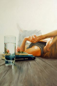 Artist: Claire Elan {contemporary figurative supine reclining blond female perspective books water glass refraction painting} Relaxed !!
