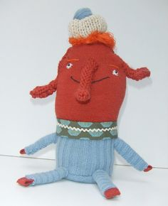 Handmade Orange Elephant Doll in Blue Cashmere with Hat by 3crows, $30.00