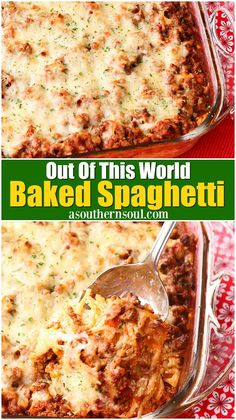 Perfectly seasoned meat with savory tomato sauce and ooey, gooey cheese makes this baked spaghetti, out of this world delicious! This is an excellent casserole for pot luck or covered dish suppers, parties or for when you're feeding a crowd. It's comfort food taken to a whole new level! #cassserole #bakedspaghetti #pastabake #cheesy #meatandcheese #comfortfood #potluckrecipes #asouthernsoul