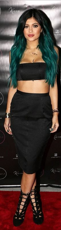 Kylie Jenner: Shirt and skirt – Misha Collection  Shoes – Alaia