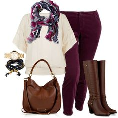 Ugh I've been looking everywhere for a pair of wine-colored jeans for fall! fall plus size outfits, tall boots, style, skinni cord, fall time, riding boots, fall outfits for plus size, color pants, colored jeans