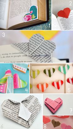 Origami Hearts - click on numbers at very bottom of the images for tutorials