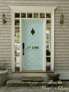 the doors, graphic, blue doors, door colors, robin egg blue, front doors, decal, paint, house numbers