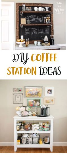 We've rounded up some great DIY Coffee Station Ideas from around  the web that we think you're going to love. No matter what your favorite hot  beverage of choice, I'm sure you'll find some fantastic ideas here that you can  get some inspiration from. #homedecor #diyhomedecor #diyhomedecortipsandideas  #decor #decoratingideas #homedecordiy #homedecoridea