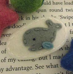 NO+SLIP+Whale+wool+felt+baby+hair+clip+ecru+by+MayCrimson+on+Etsy,+$7.00