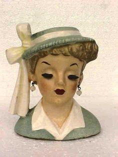 VINTAGE NAPCO 1958 LADY HEAD VASE C3342A LT BLUE DRESS