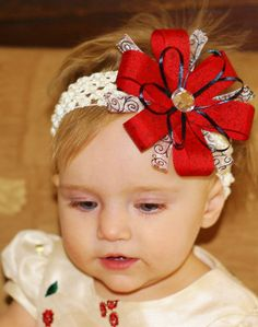 Red baby bow  Valentines hair bow ribbon by SallyAnnaSunshine, $6.99