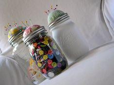 button crafts, mason jar pin cushion, mason jar crafts, mason jars, crafti person, button storag