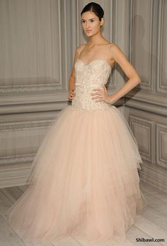 Blush wedding dress.