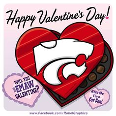 Valentine's Day K-State Powercat posted on my Robel Graphics Facebook page.