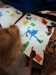 LOVE IT-Pete the Cat on the light table :-)-laminated tissue paper