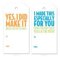 Printable tags for handmade gifts