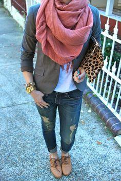 Oxfords + ripped jeans + grey blazer + scarf + thin clutch