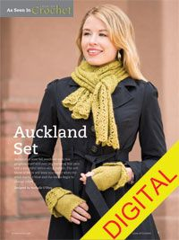 Auckland Scarf and Mitt Set Digital Crochet Pattern - from the Fall 2014 Issue of Love of Crochet magazine