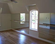ballet studio in basement/ workout room! so cute!
