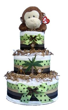Monkey Baby Shower Diaper Cake