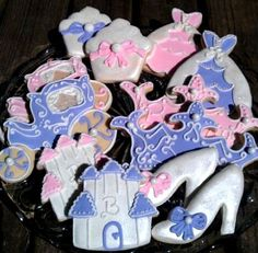 12 Large Princess Cookies Sugar cookies Birthday favor Crown Carriage Cupcake Glass slipper