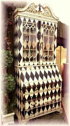 Black and White Harlequin hand-painted secretary. decor, furniture arrangement, painted furniture, china cabinets, diy furniture, antique furniture, design interiors, paint furnitur, home interior design