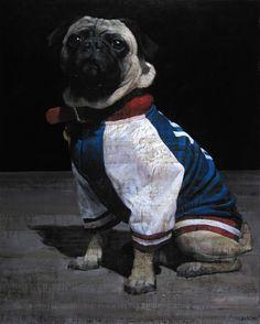 """François Bard, Hugo, 2014, Oil on Canvas, 64"""" x 51"""" #Art #BDG #BDGNY #Contemporary #Painting #Pug #dog"""
